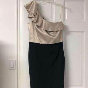 Black and cream one shoulder dress